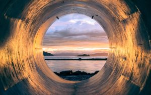 Water pipe by the sea