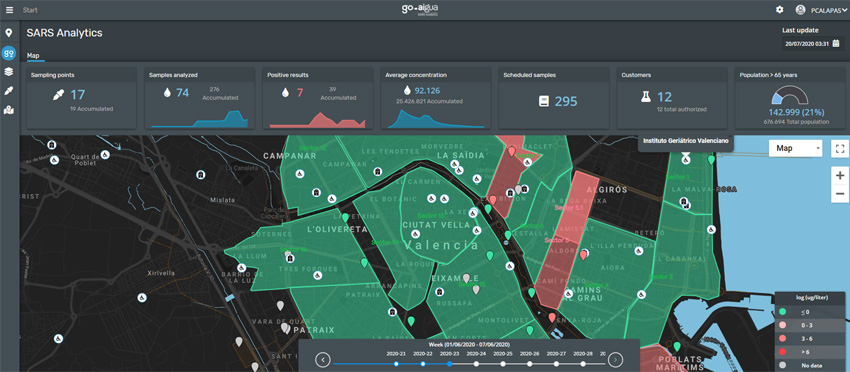 GoAigua SARS Analytics map results